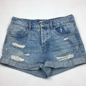 High Waisted distressed cut off denim shorts